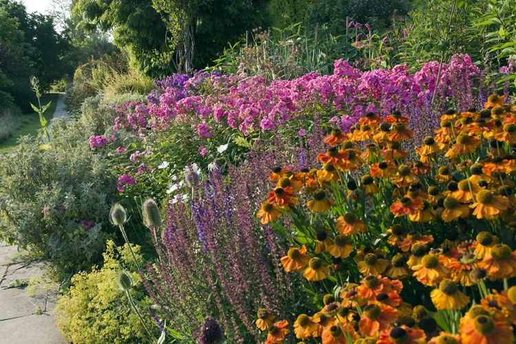 The Long Border at Great Dixter with Helenium and Phlox